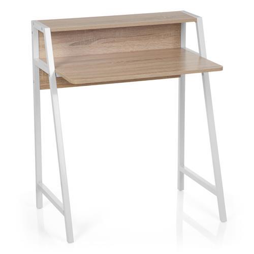 Mesa de ordenador port til amber 75x48x89 cm en metal y madera color roble mesa para - Mesa portatil ordenador ...
