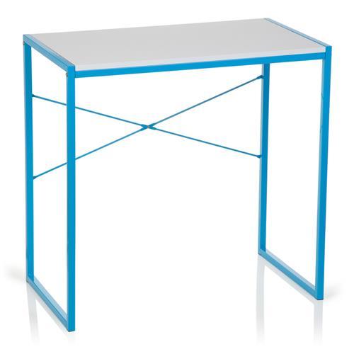 Mesa Para Ordenador Vega Dimensiones 78x46x76 Cm Estructura Metálica En Azul Y Superficie De Madera En Blanco