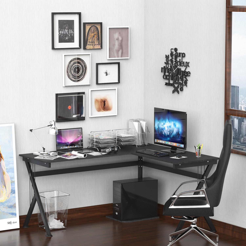Mesa de ordenador alaska en madera color negro y - Mesa ordenador madera ...