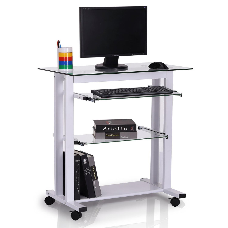 Mesa de ordenador tokin compacta 80x51x83 cm en cristal y metal color blanco mesa para - Mesa ordenador pequena ...