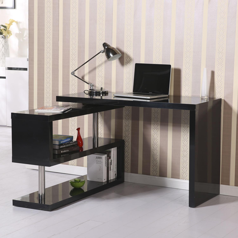 Mesa de ordenador loren en madera color negro mesa de ordenador loren con estantes 187x50x76 - Mesas de ordenador de diseno ...