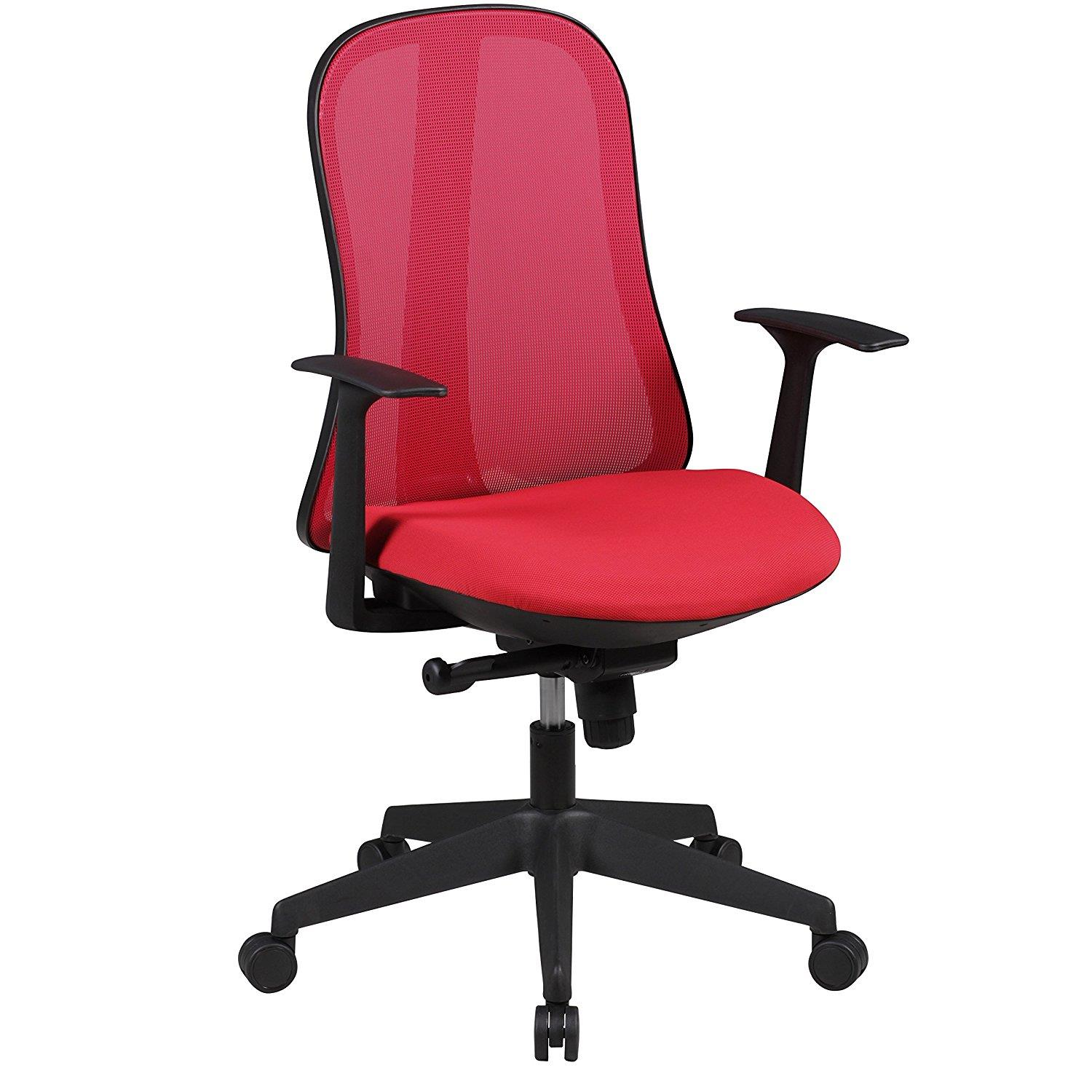 Silla Ergonómica MIRTA, Mecanismo Sincronizado, en Malla Transpirable color Rojo