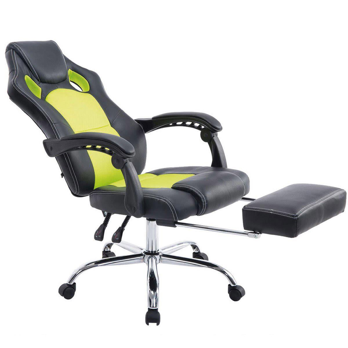 Silla Gaming SPRINT, Reposapiés Extensible, en Piel Negra y Malla Transpirable color Verde