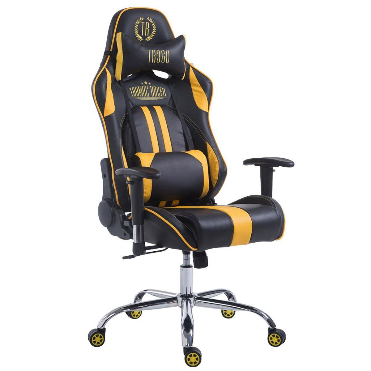 Silla Gaming LOGAN, Respaldo Reclinable, Cojines Incluidos, Base de Metal, En Negro/Amarillo