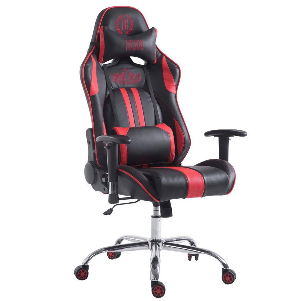 Silla Gaming LOGAN, Respaldo Reclinable, Cojines Incluidos, Base de Metal, En Negro/Rojo
