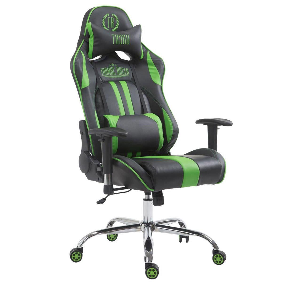 Silla Gaming LOGAN, Respaldo Reclinable, Cojines Incluidos, Base de Metal, En Negro/Verde