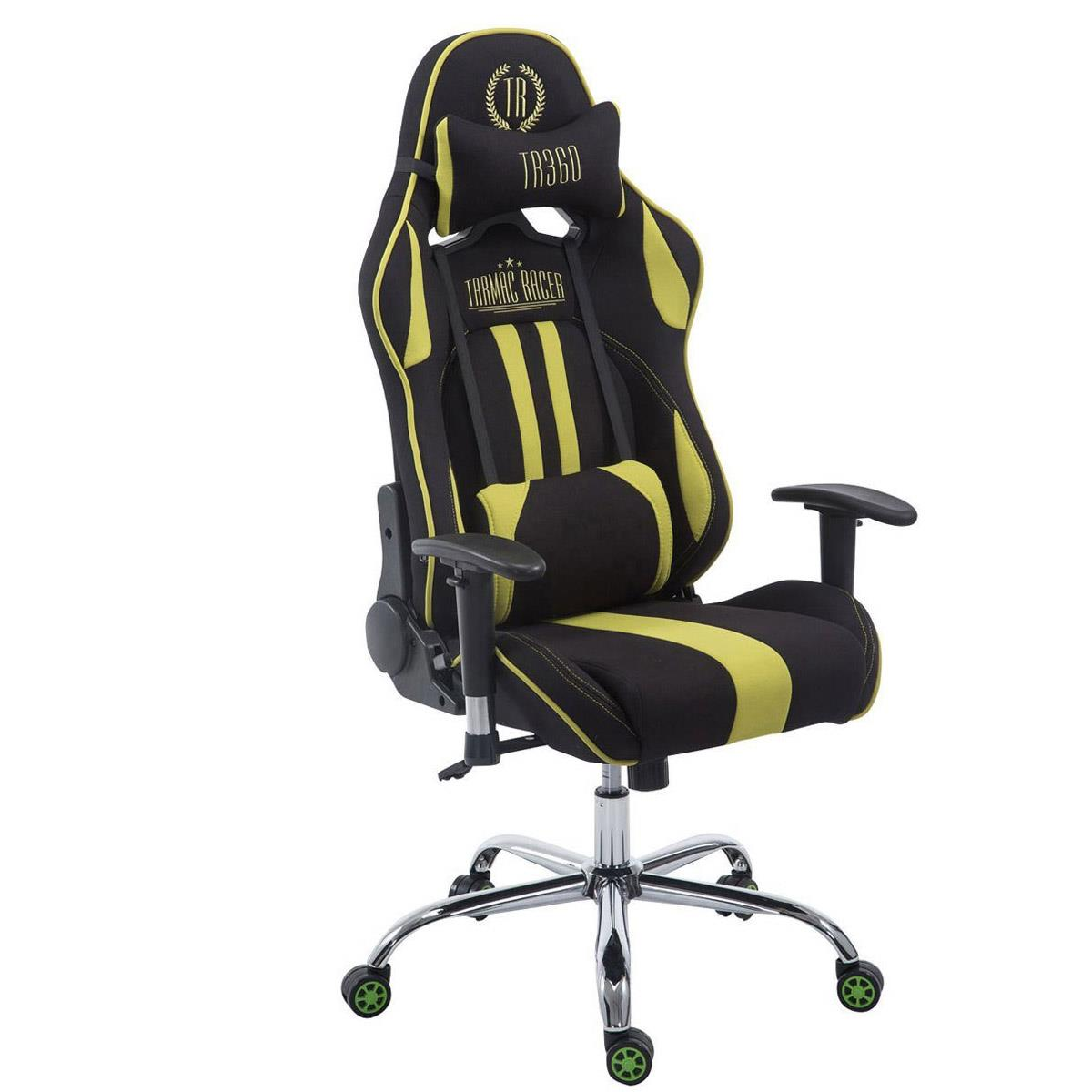 Silla Gaming LOGAN TELA, Respaldo Reclinable, Cojines Incluidos, Base de Metal, En Negro/Verde