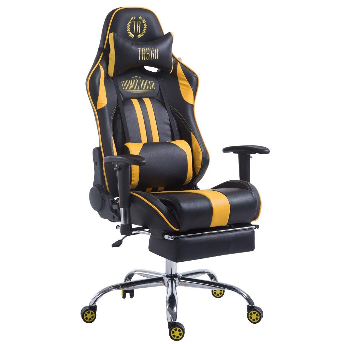 Silla Gaming LOGAN con Reposapiés, Respaldo Reclinable, Cojines Incluidos, Base de Metal, En Negro/Amarillo