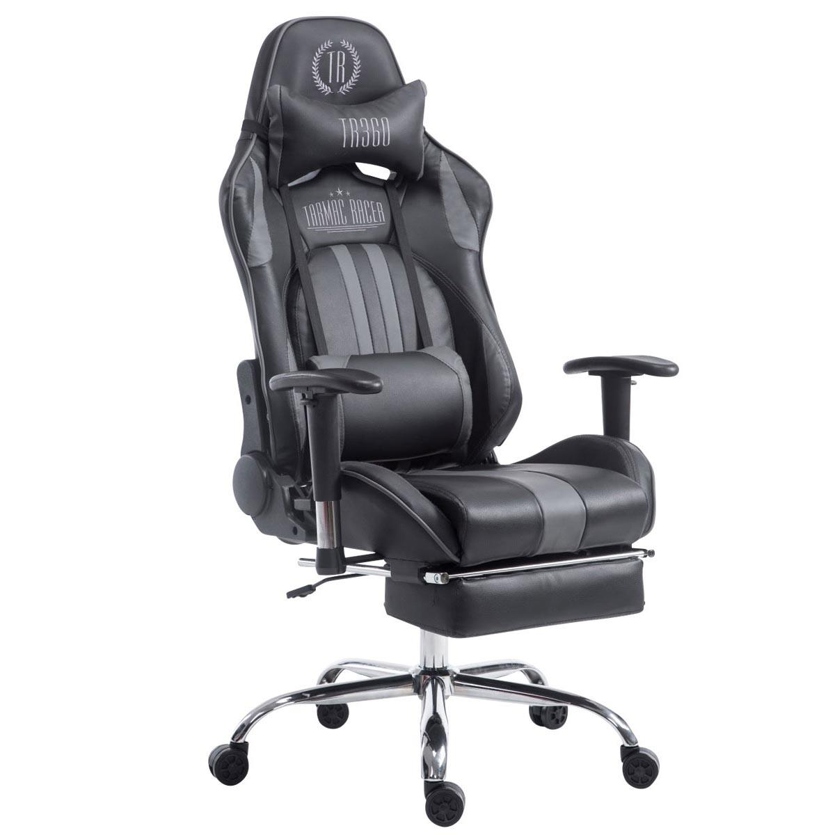Silla Gaming LOGAN con Reposapiés, Respaldo Reclinable, Cojines Incluidos, Base de Metal, En Negro/Gris