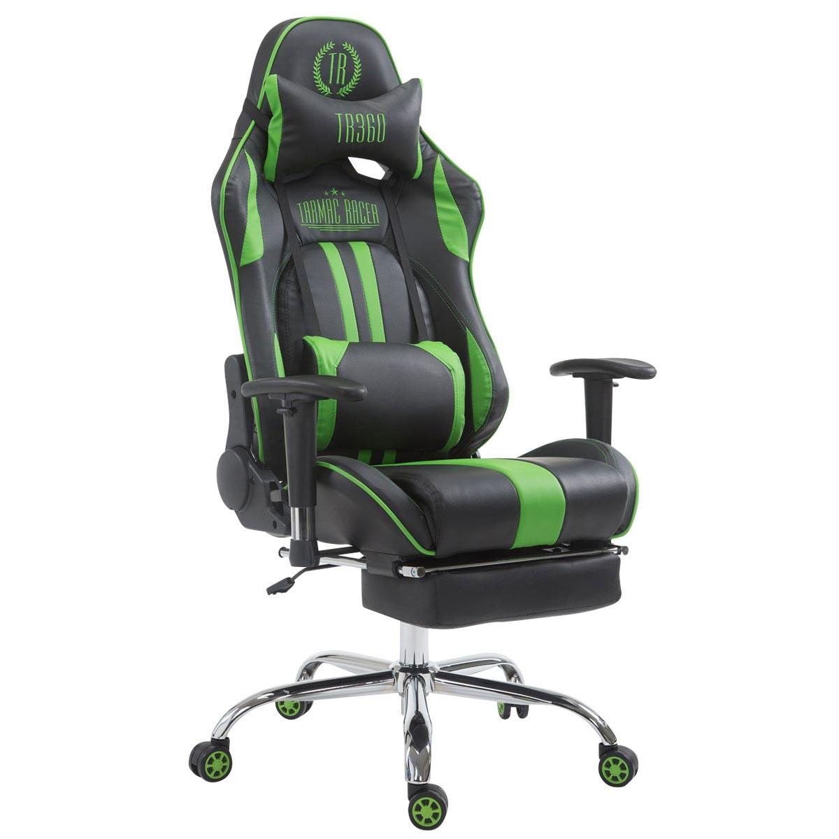 Silla Gaming LOGAN con Reposapiés, Respaldo Reclinable, Cojines Incluidos, Base de Metal, En Negro/Verde