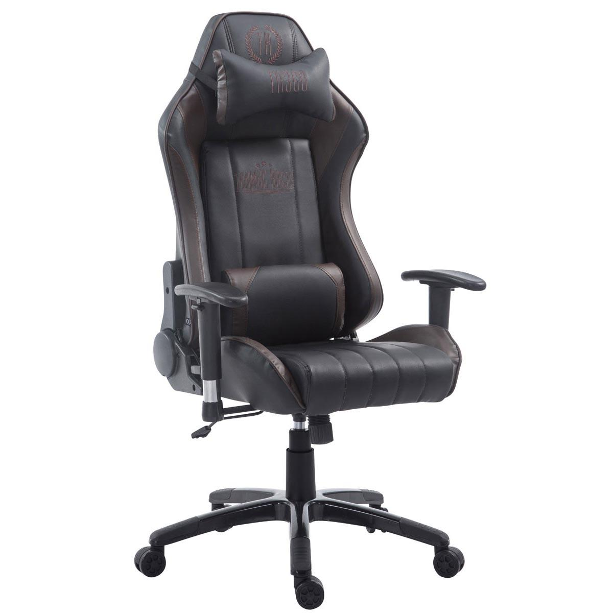 Silla Gaming TURBO, Respaldo Reclinable, Cojines Lumbar y Cervical, En Piel Negro/Marrón