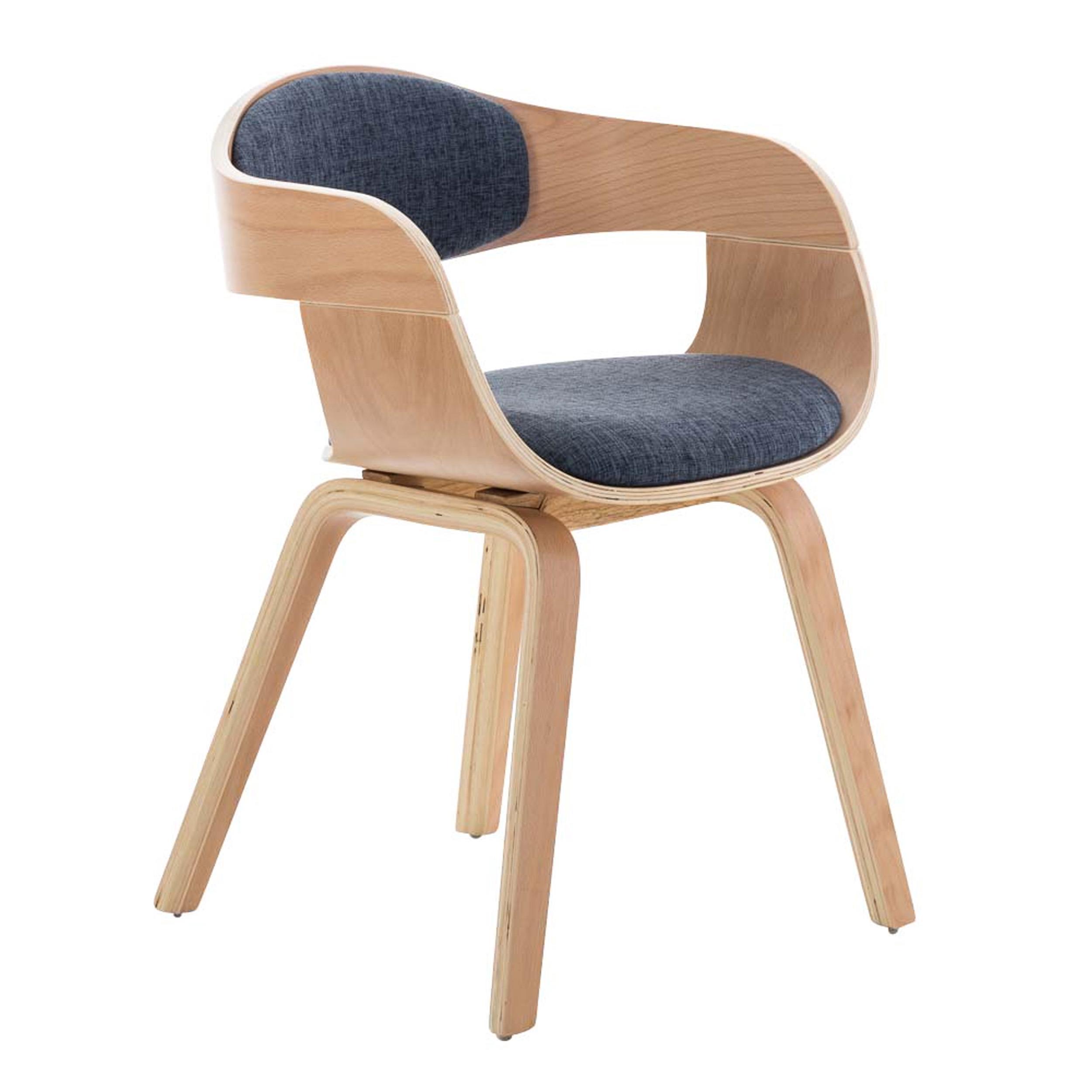 Silla de confidente butan tela color haya y azul silla for Sillas y sillones de diseno