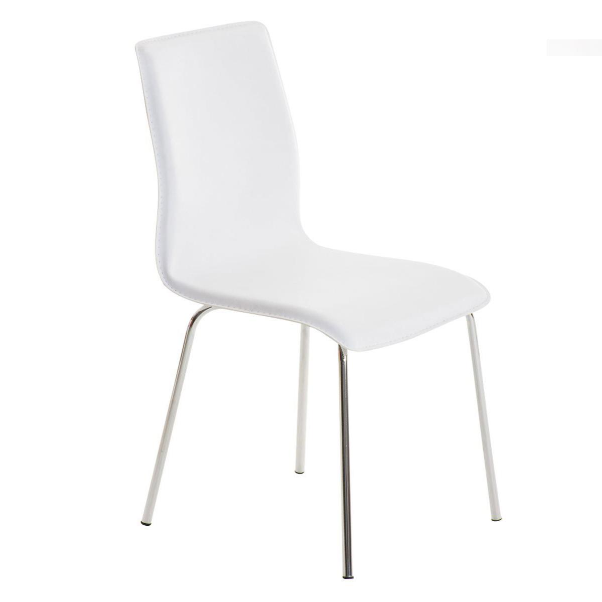 Silla de Confidente MIKI, Diseño Exclusivo, Tapizada en Piel color Blanco