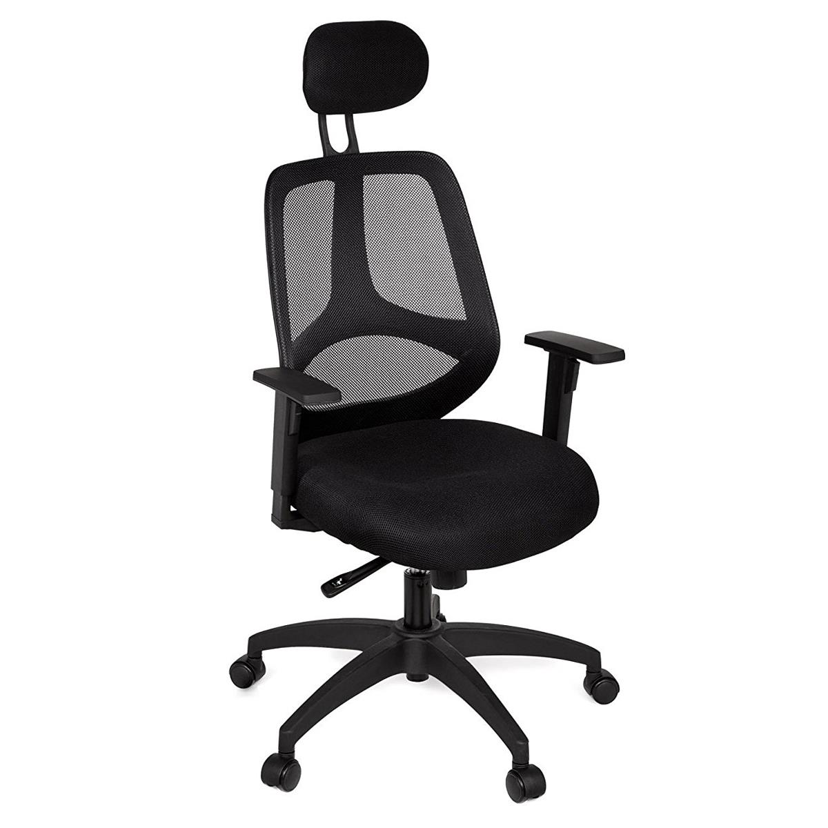 Silla Ergonómica FLORENCIA, Apoyabrazos Regulables, Reposacabezas Regulable, en Malla transpirable color Negro