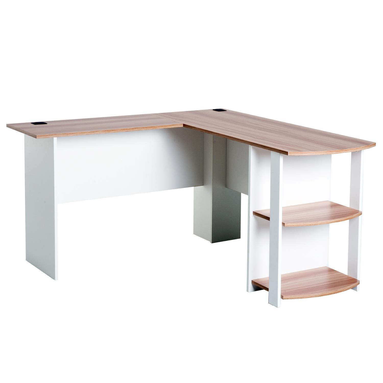 Mesa de Oficina DAVEN, 136x130x72 cm, con Estantes, en Madera color Blanco  y Nogal