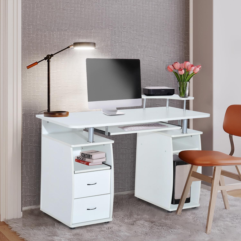 Mesa de ordenador griso en madera color blanco - Mesas de escritorio de diseno ...