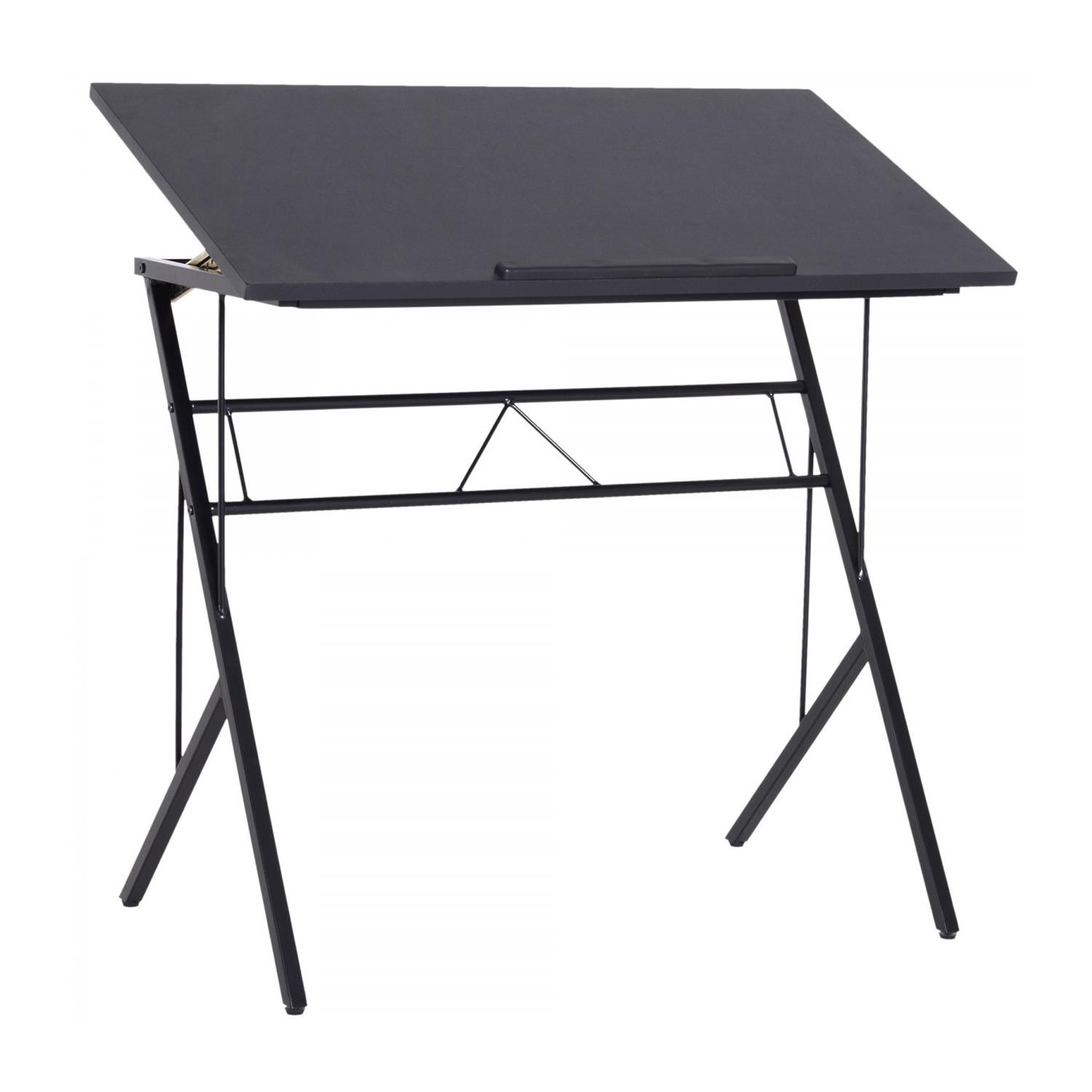 Mesa inclinable BEKIR, 90x50x76-91 cm, en Metal y Madera color Negro