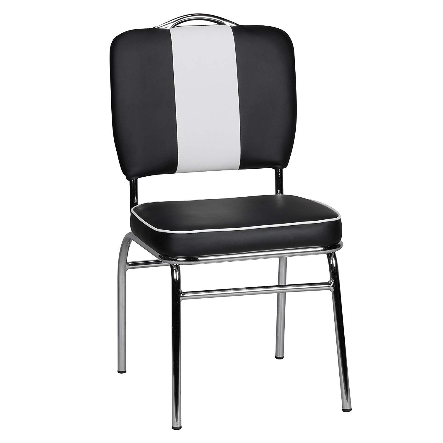 Silla de Confidente FIFTIES, Gran Acolchado, Estilo Retro, en Piel color Negro