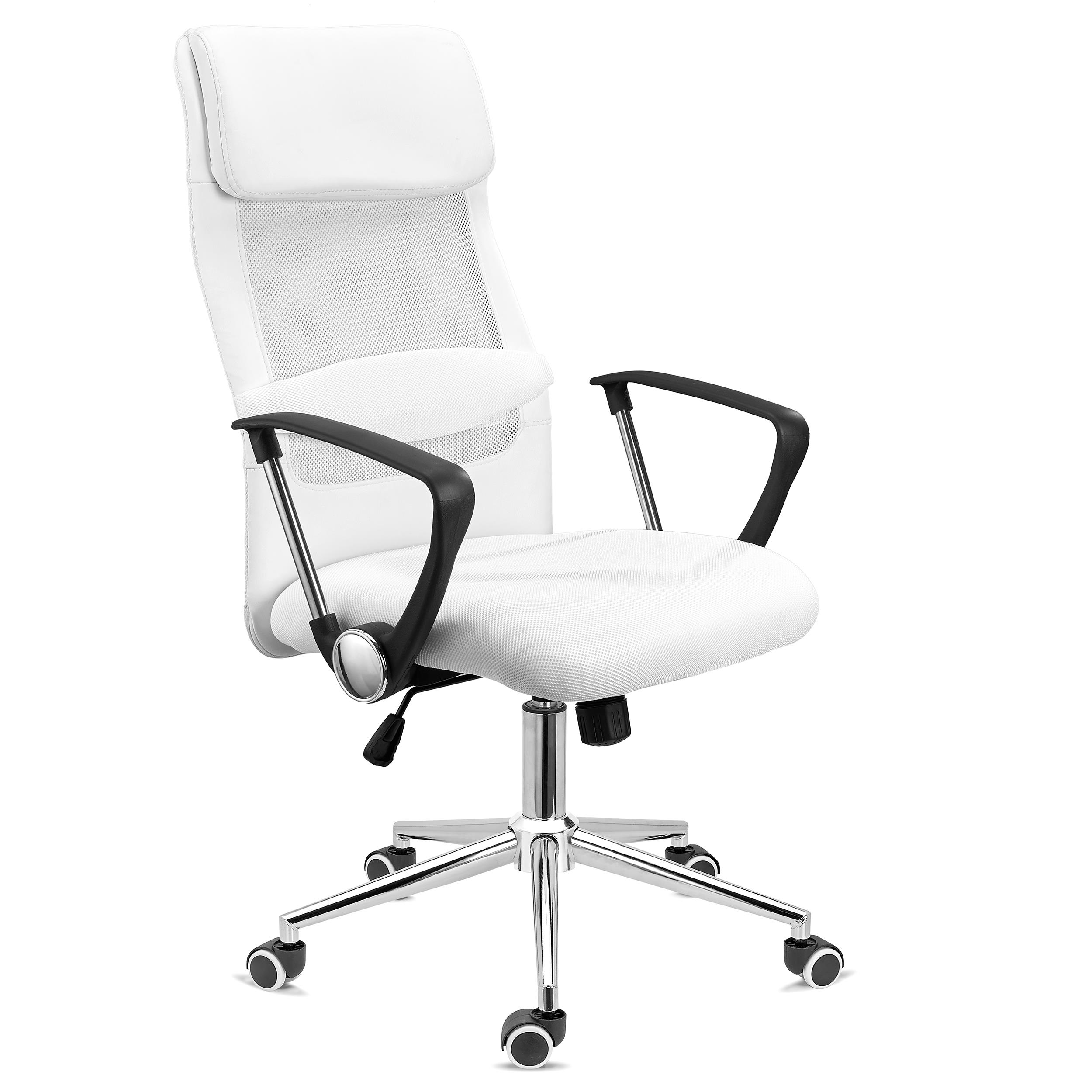DEMO# Silla de Oficina CAIRO, Reposacabezas Acolchado, Exclusiva Base de Metal, En Blanco