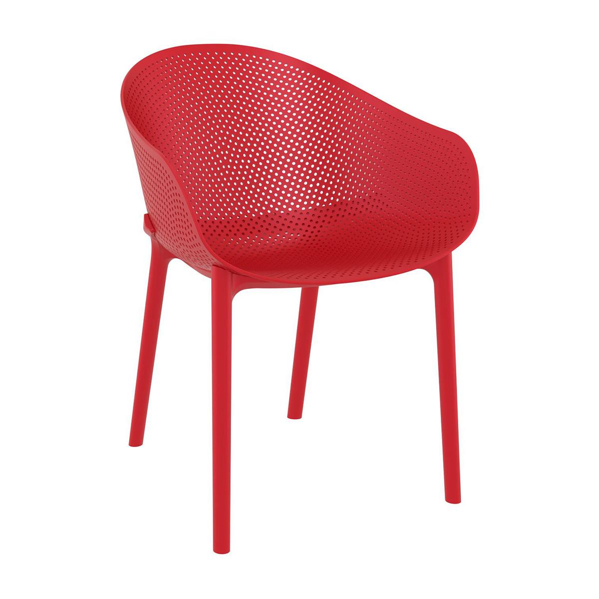 Silla de Confidente DYNA, Reposabrazos Integrados, Moderno Diseño, color Rojo
