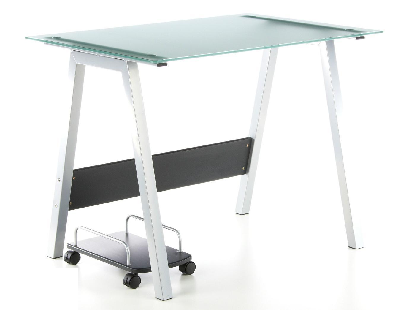 Mesa de ordenador en cristal delta 76x100 cm mesa de for Mesa cristal oficina