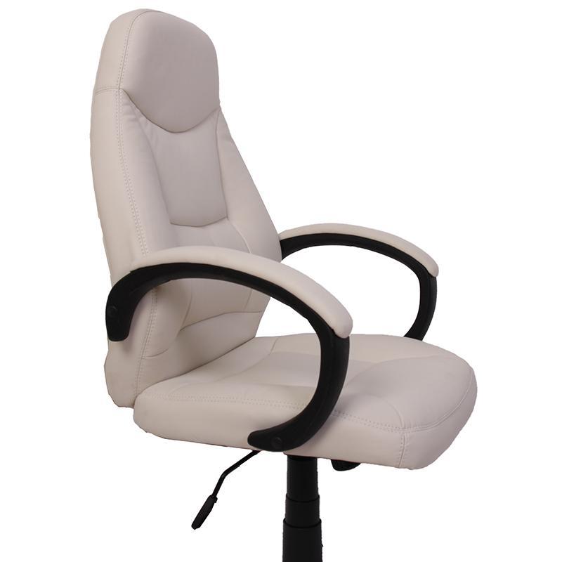 Silla de oficina miranda en piel crema basculante for Sillas de oficina de diseno