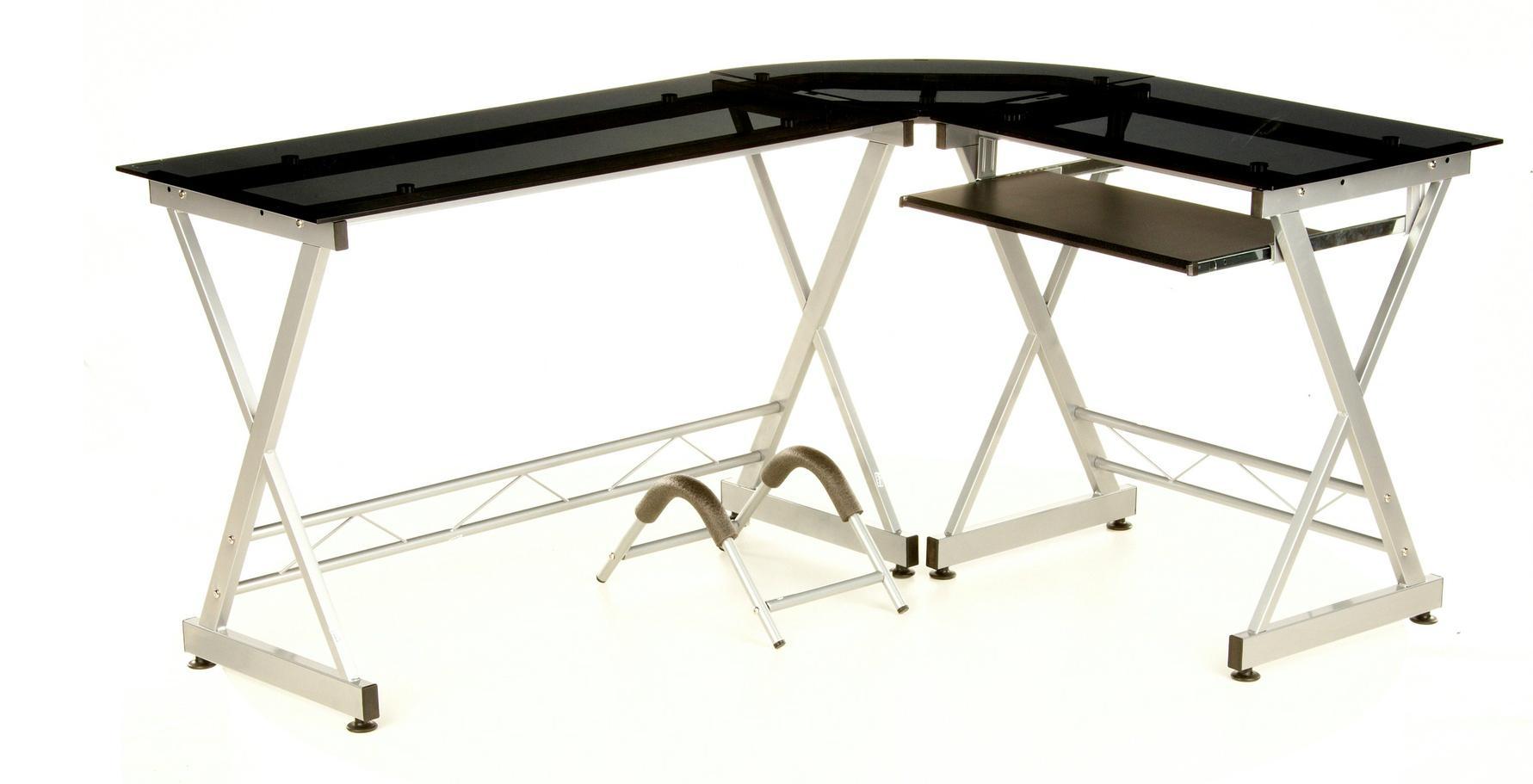Mesa de Oficina en Cristal templado Negro muy amplio EXPERT, diseño  moderno, con soporte PC, 75 x 160 cm