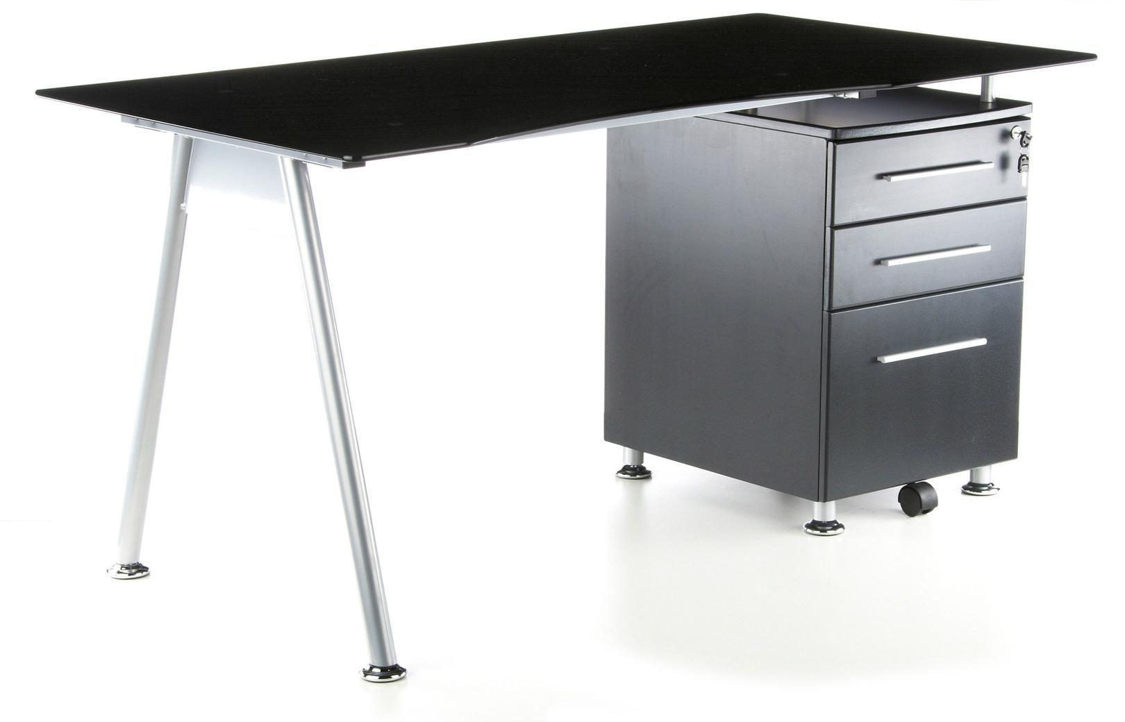 Mesa de ordenador nero 120 x 60cm cristal y madera for Mesa de ordenador con ruedas
