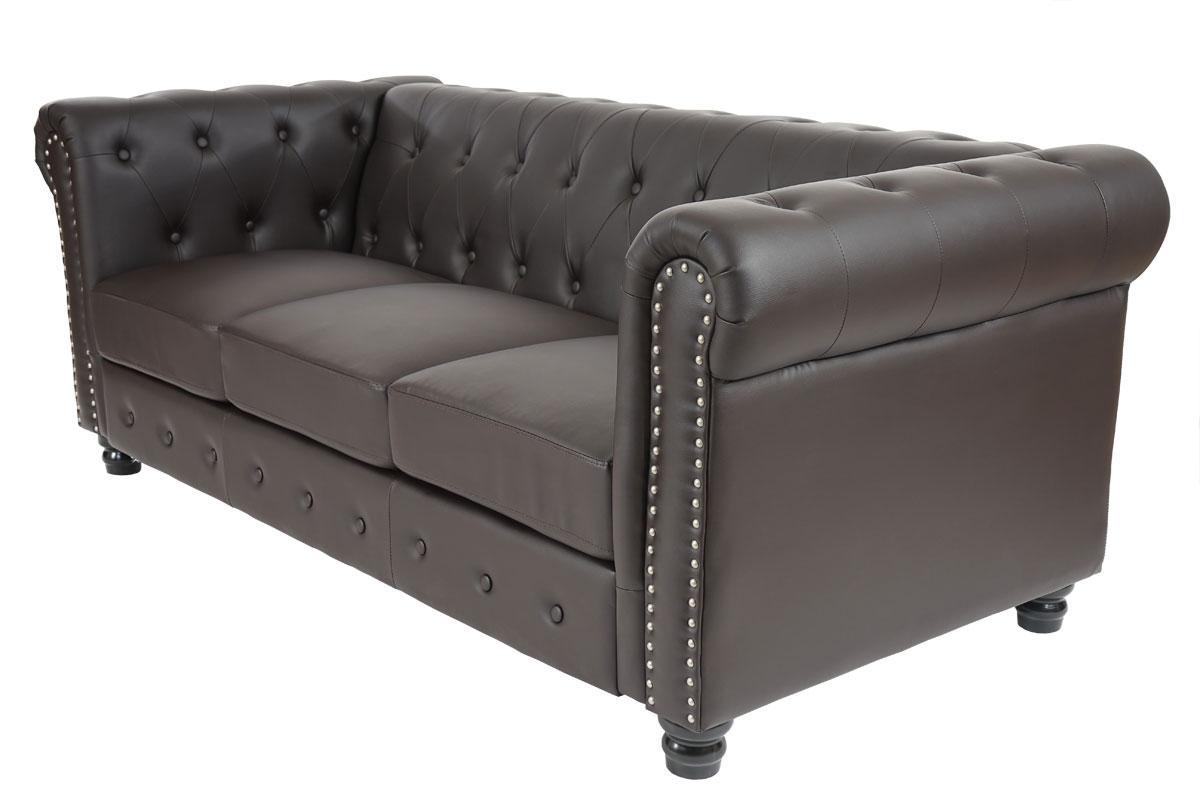 Sof de 3 plazas chester muy elegante en piel color - Sofas de diseno en piel ...