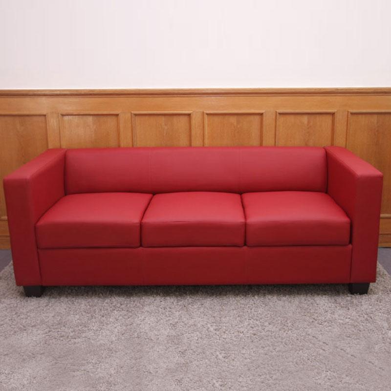 Sof 3 plazas basilio gran dise o y muy c modo en piel color rojo sof de 3 plazas basilio - Sofas de diseno en piel ...