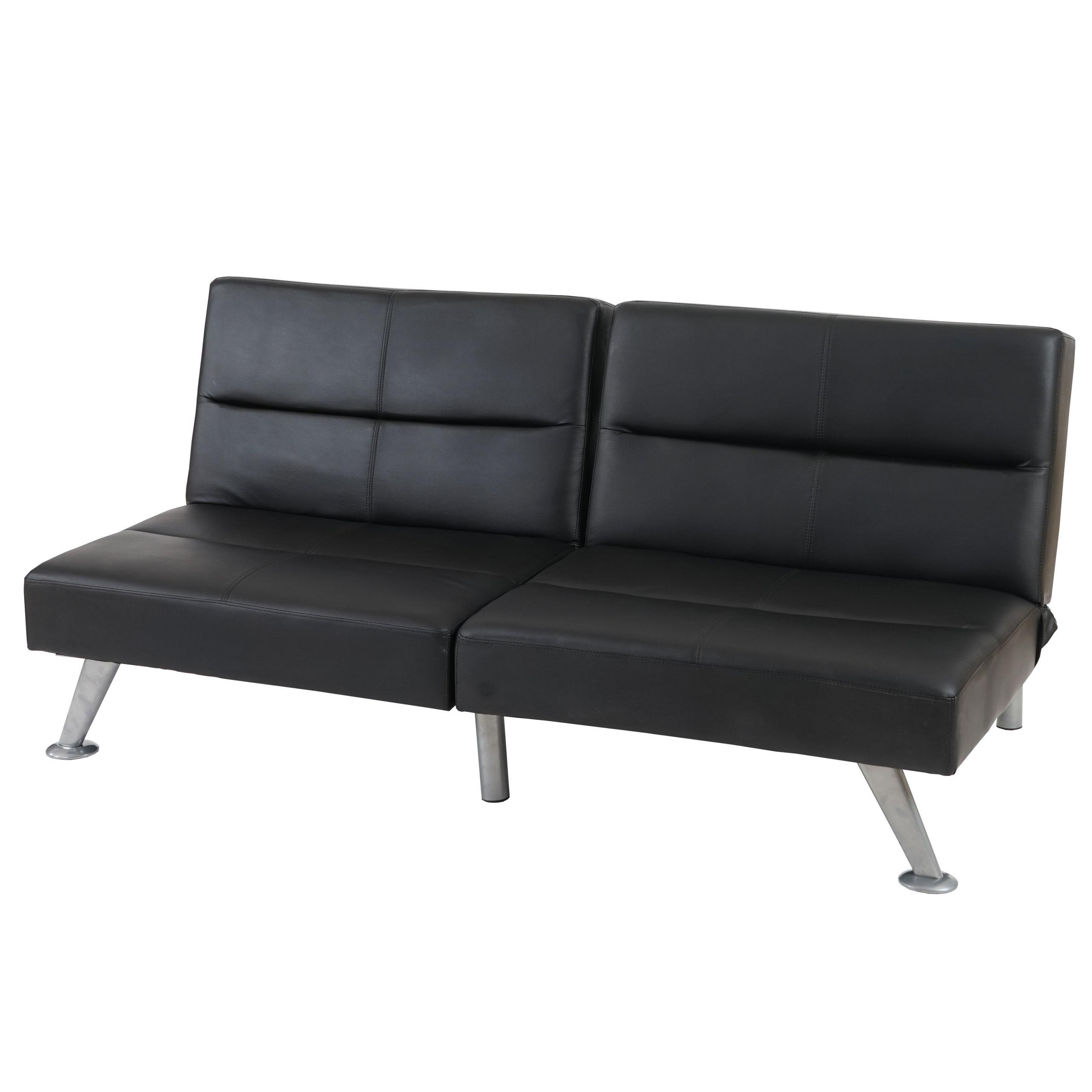 Sof plegable de 3 plazas romeo muy vers til y c modo en piel real color negro sof plegable - Sofas muy comodos ...