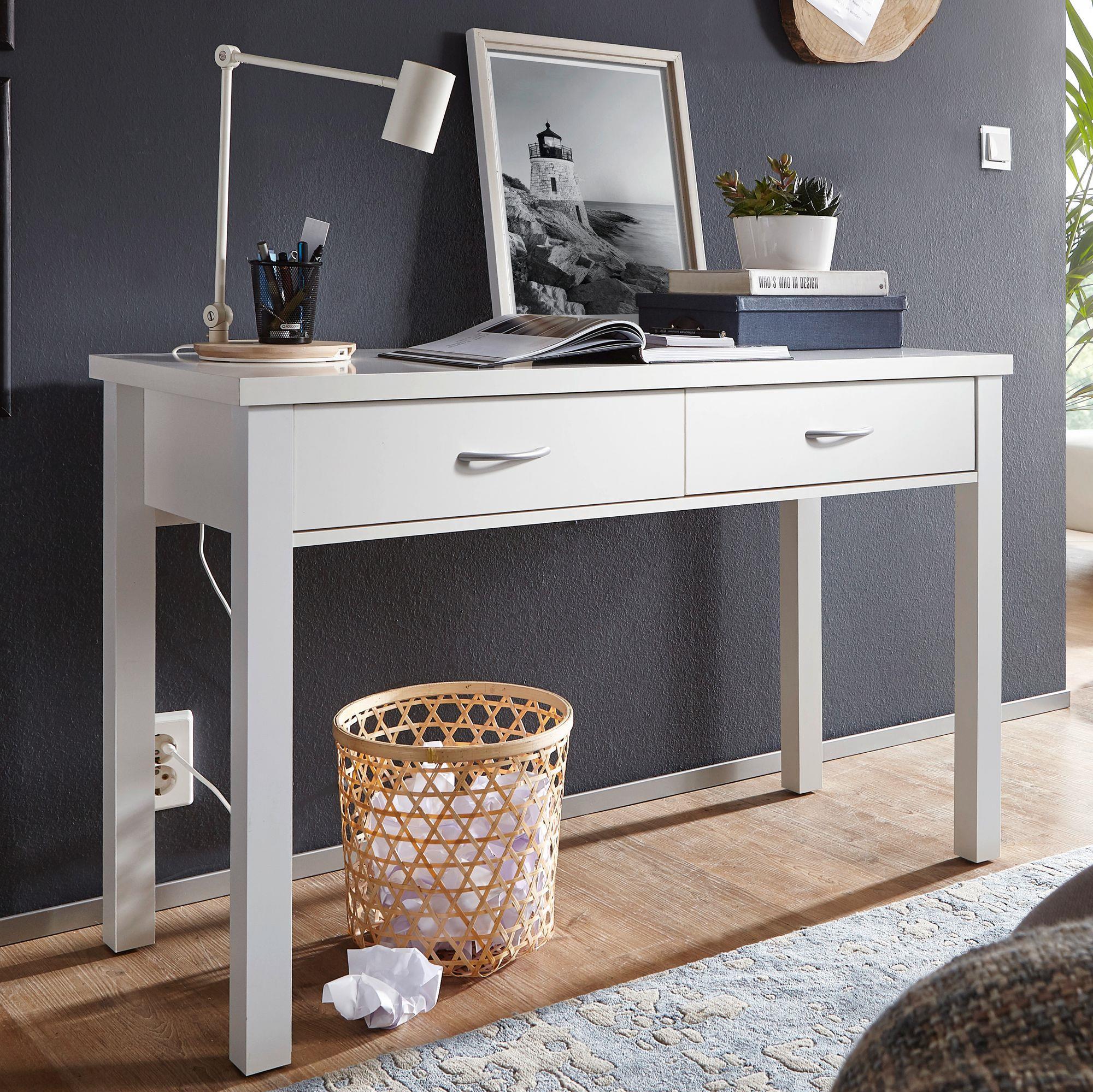 Mesa de escritorio berkley dos amplios cajones color for Mesas escritorio diseno