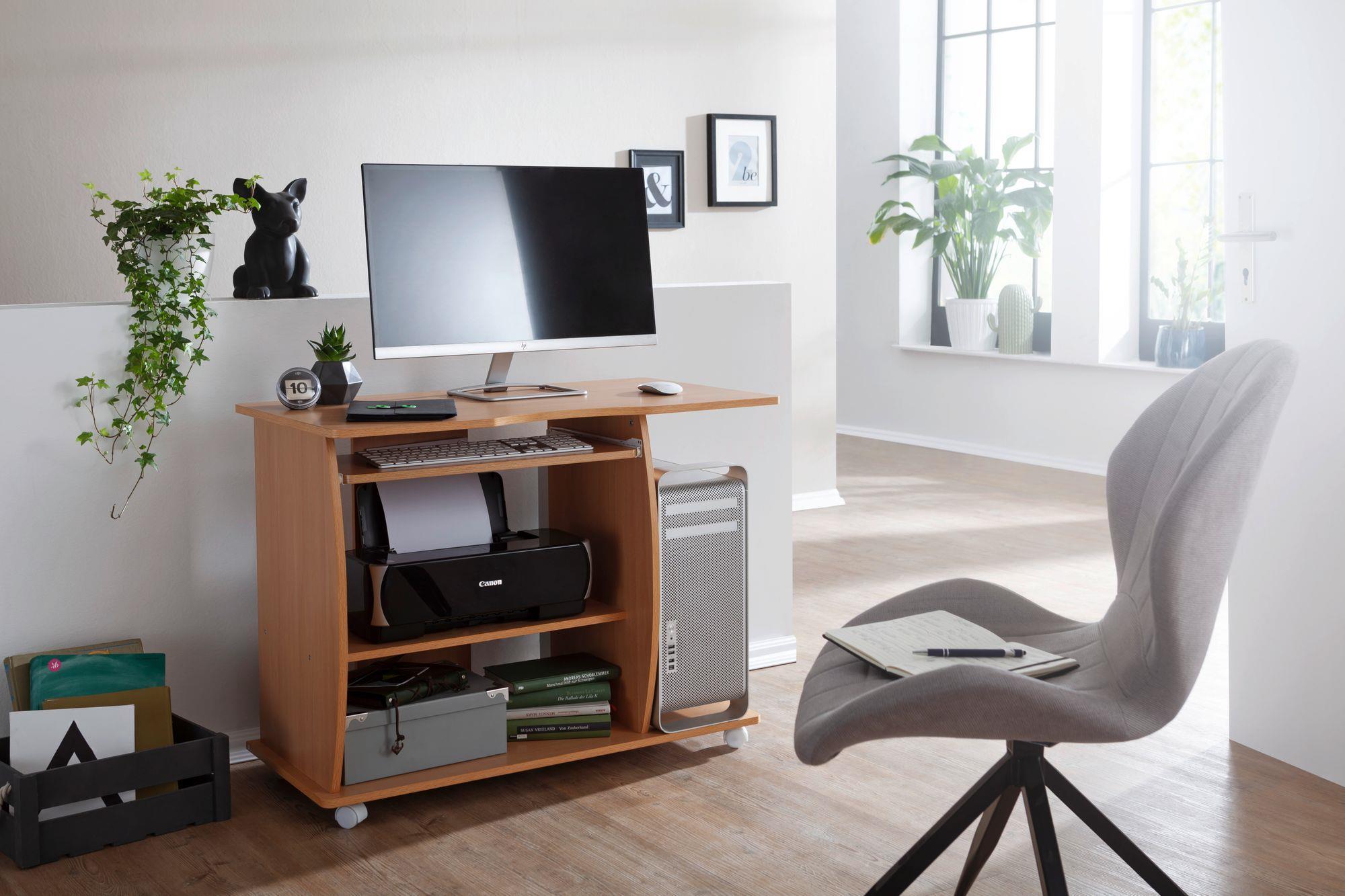 Mesa de ordenador duke bandeja para teclado y ruedas en - Mesa ordenador madera ...
