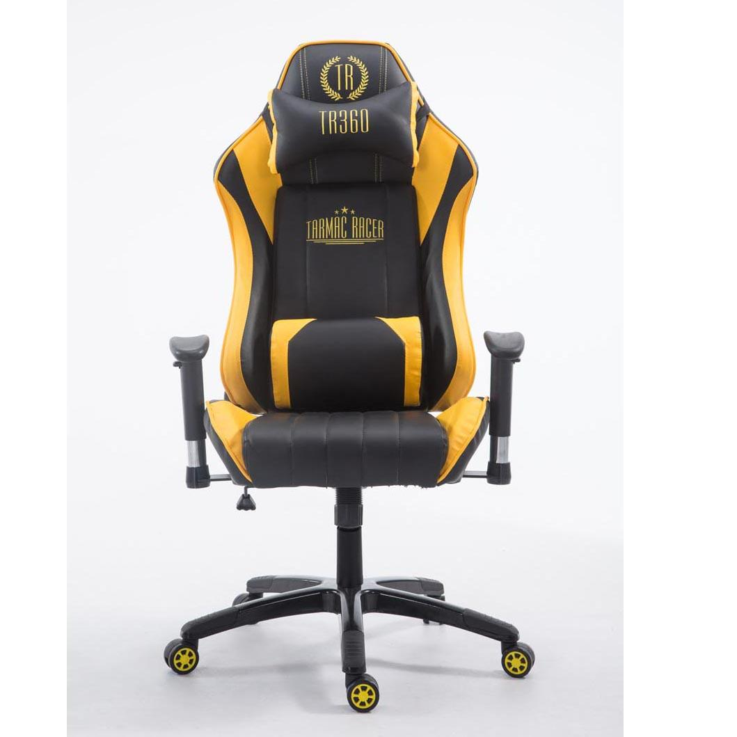 Silla gaming turbo reclinable con cojines en piel color negro amarillo silla gaming turbo - Silla 1 2 3 reclinable ...