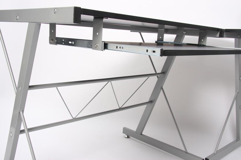Mesa de ordenador easy line en madera negra 140x115x72cm - Mesa ordenador madera ...