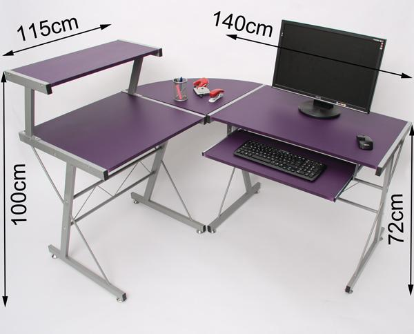 Mesa de ordenador easy line en madera lila 140x115x72cm - Mesa ordenador madera ...