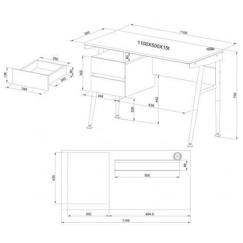 Mesa para ordenador port til viking en metal con cajones for Medidas mesa escritorio