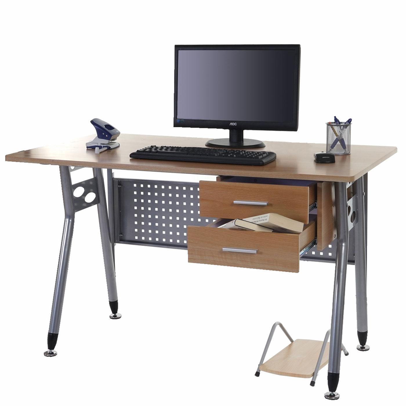 Mesa para ordenador caribe en metal con cajones y soporte - Mesa ordenador madera ...