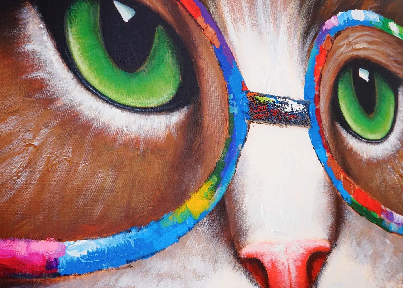 Cuadro gato 90x90x3 5 cm pintado a mano al leo cuadro - Como pintar un cuadro moderno ...