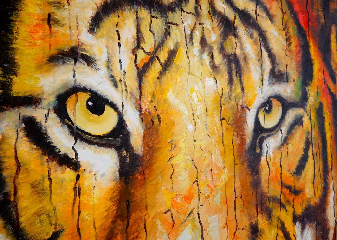 Cuadro Al óleo Tigre Pintado A Mano 100x90 Cm