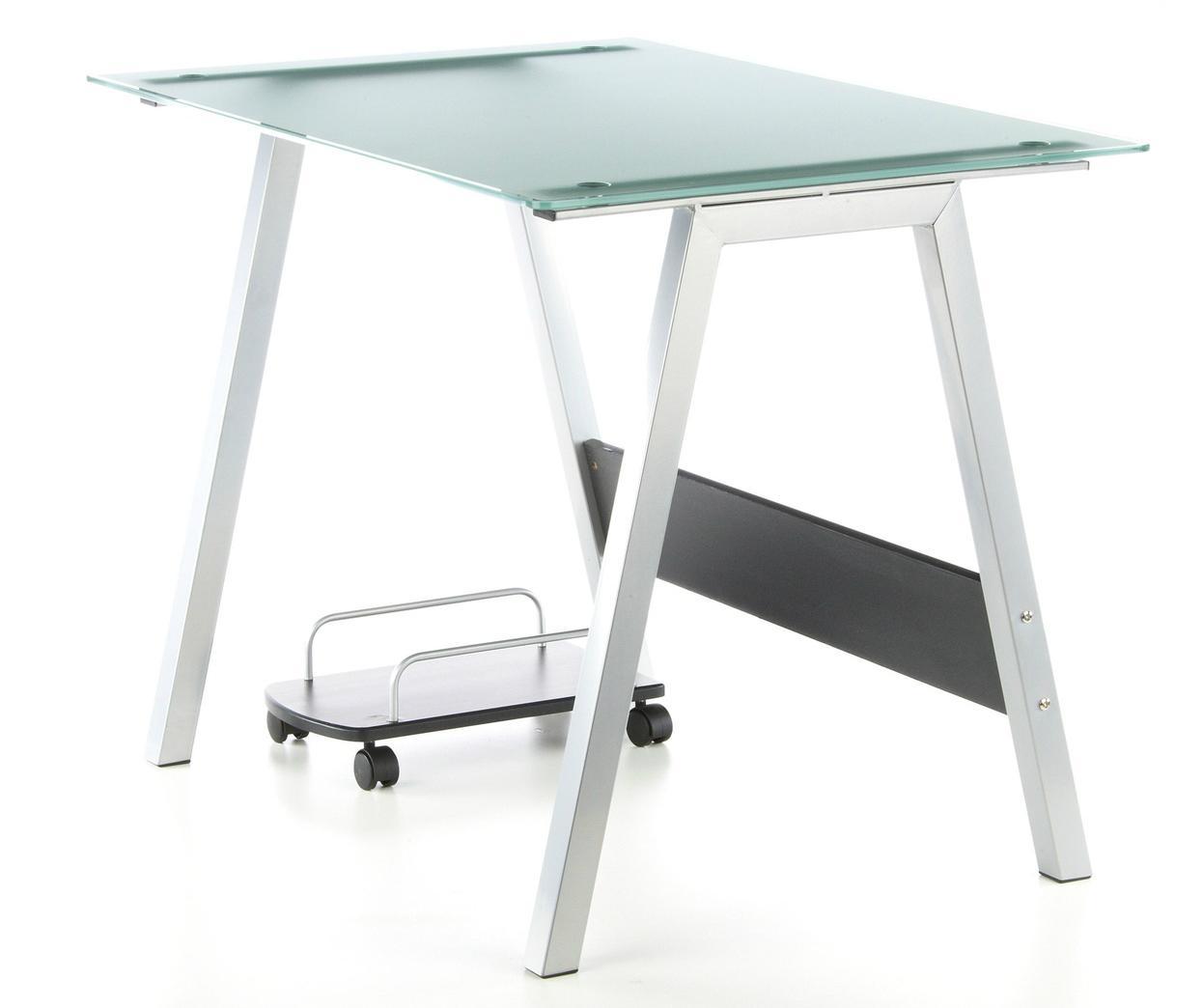 mesa de ordenador en cristal delta moderno diseo soporte para cpu x cm