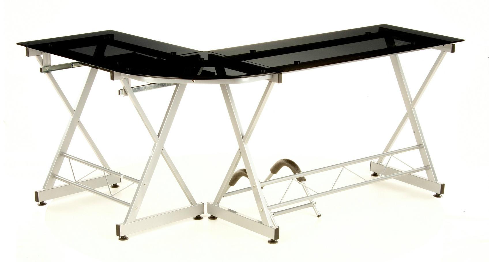 Mesa de oficina en cristal negro expert soporte pc for Mesa cristal oficina