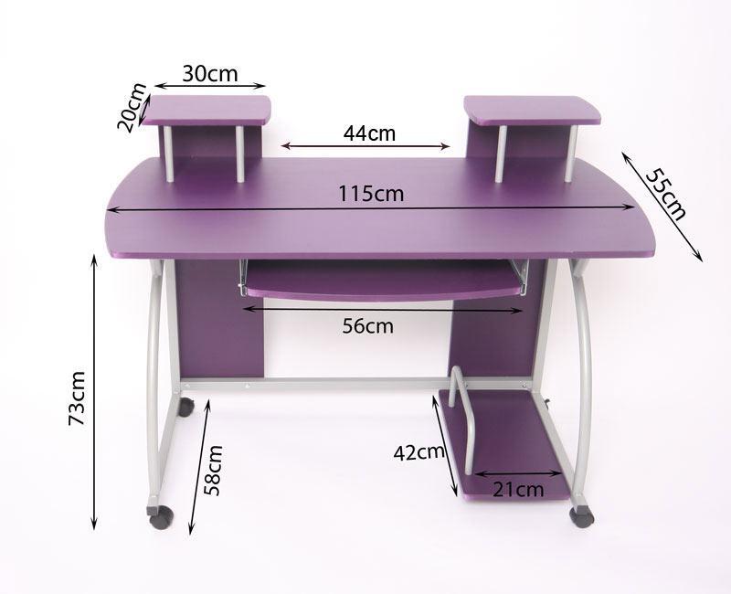 Mesa de ordenador ohio pro bandeja teclado negra 115x55 for Dimensiones mesa escritorio