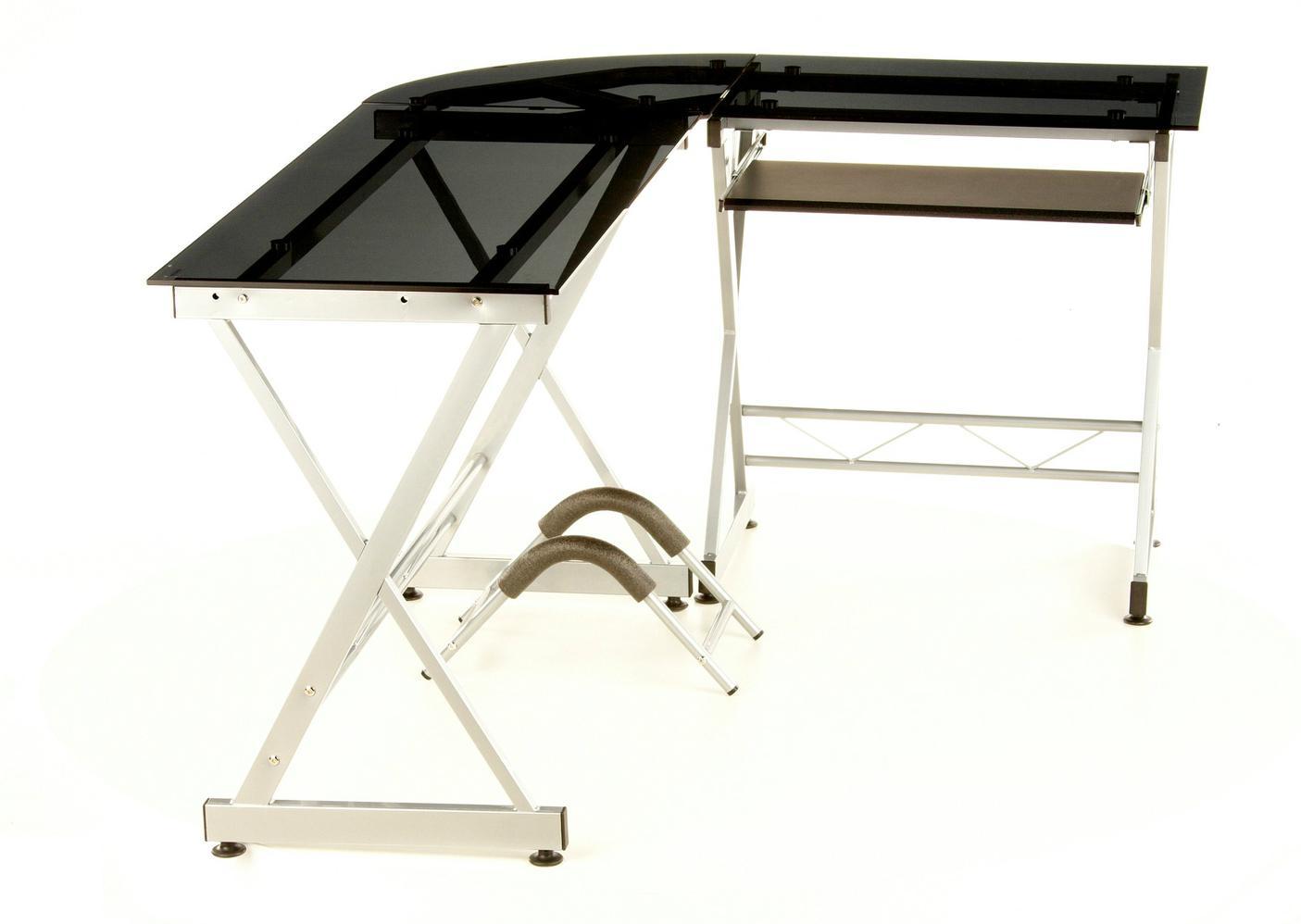 Mesa de oficina en cristal negro expert soporte pc for Mesas de ordenador de diseno