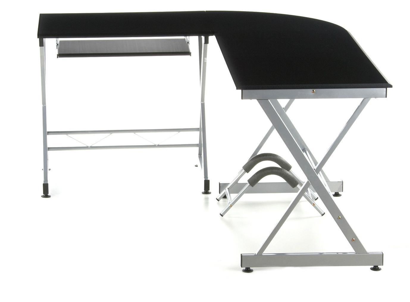 Mesa de ordenador en madera y aluminio easy go 75x173cm for Mesa oficina en l