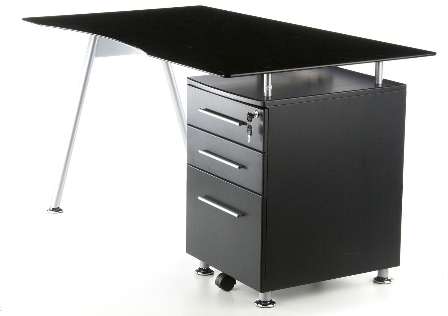 Mesa De Ordenador Modelo Nero En Cristal Negro Templado