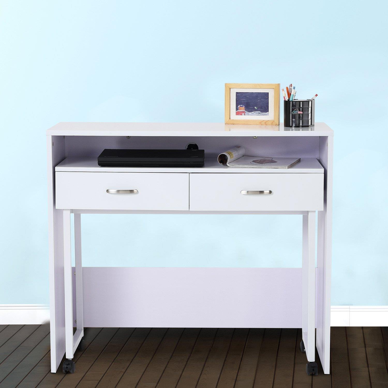 Set de 2 escritorios bengala en madera color blanco set for Dimensiones mesa escritorio