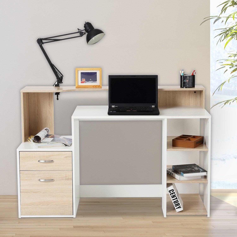 Mesa de ordenador botina en madera color blanco y roble - Sillas para estudiar ...