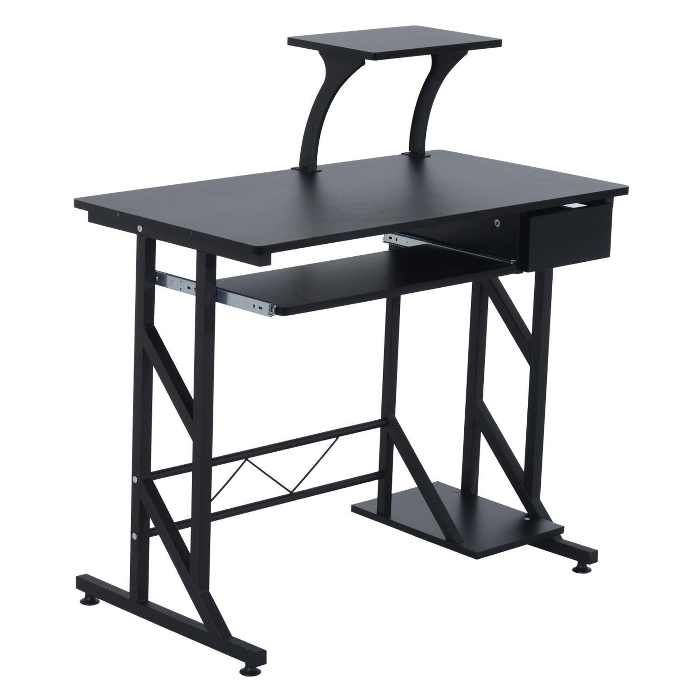 Mesa de ordenador arnold en madera color negro mesa para for Mesa plegable ordenador