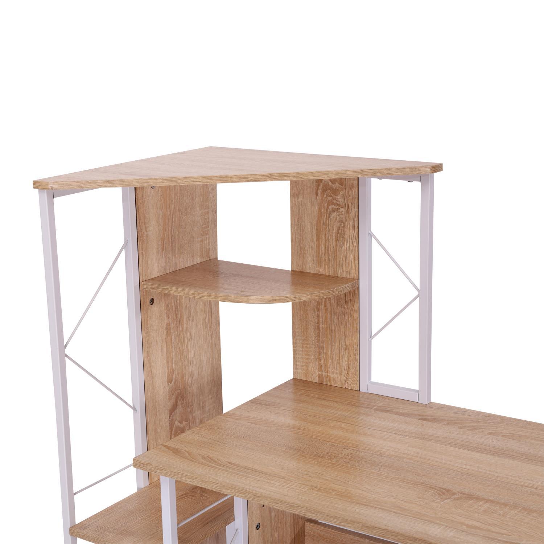 Mesa de ordenador silvano en madera color blanco y roble - Color madera roble ...